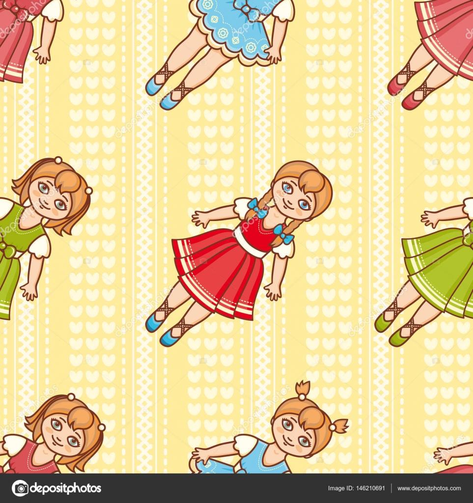 pequena bailarina estilo de desenho animado padrão sem emenda