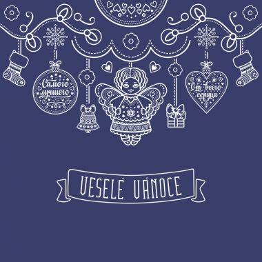 Vesele Vanoce. Vector. Czech language. Warm