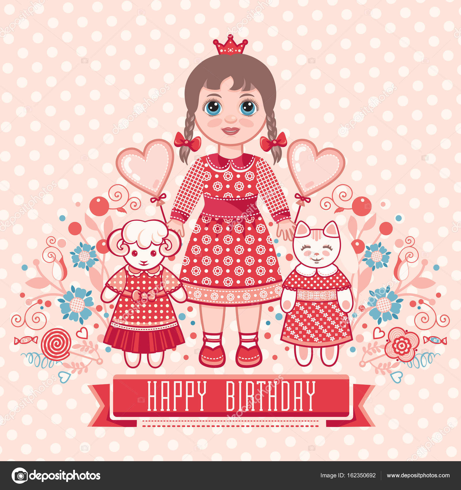 Happy Birthday Greetings Card For Girl Stock Vector Zzn