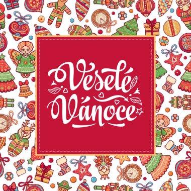 Vesele Vanoce Lettering composition Czech language
