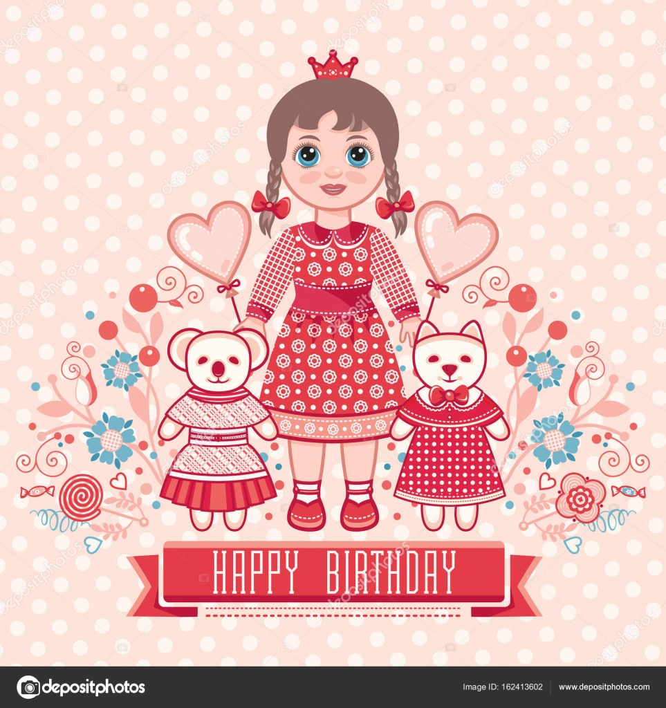 Happy birthday greetings card for girl stock vector zzn happy birthday greetings card for girl illustration of cute little princess vector by zzn bookmarktalkfo Choice Image