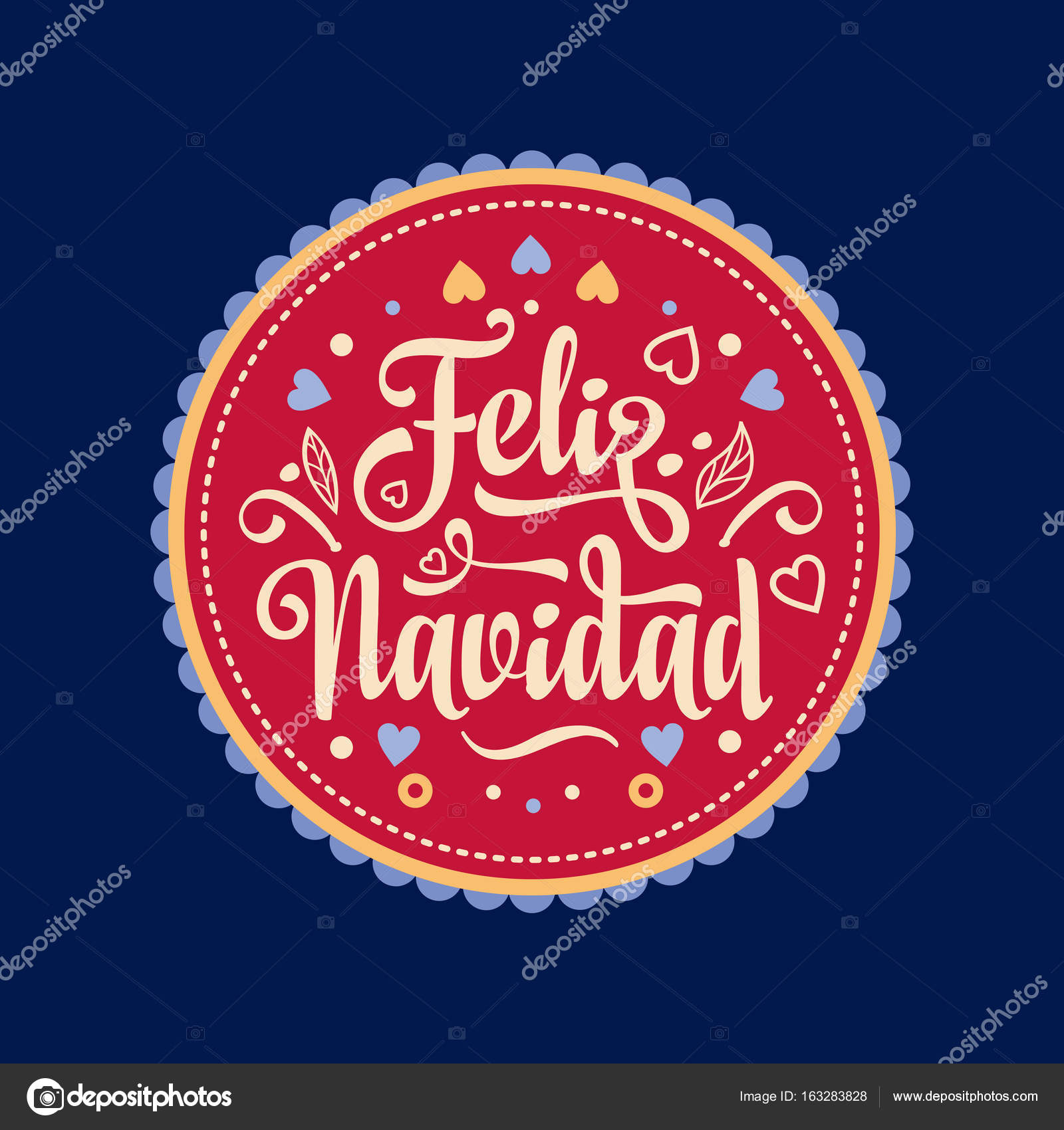 Feliz navidad. Xmas card. Spanish language — Stock Vector © ZzN ...