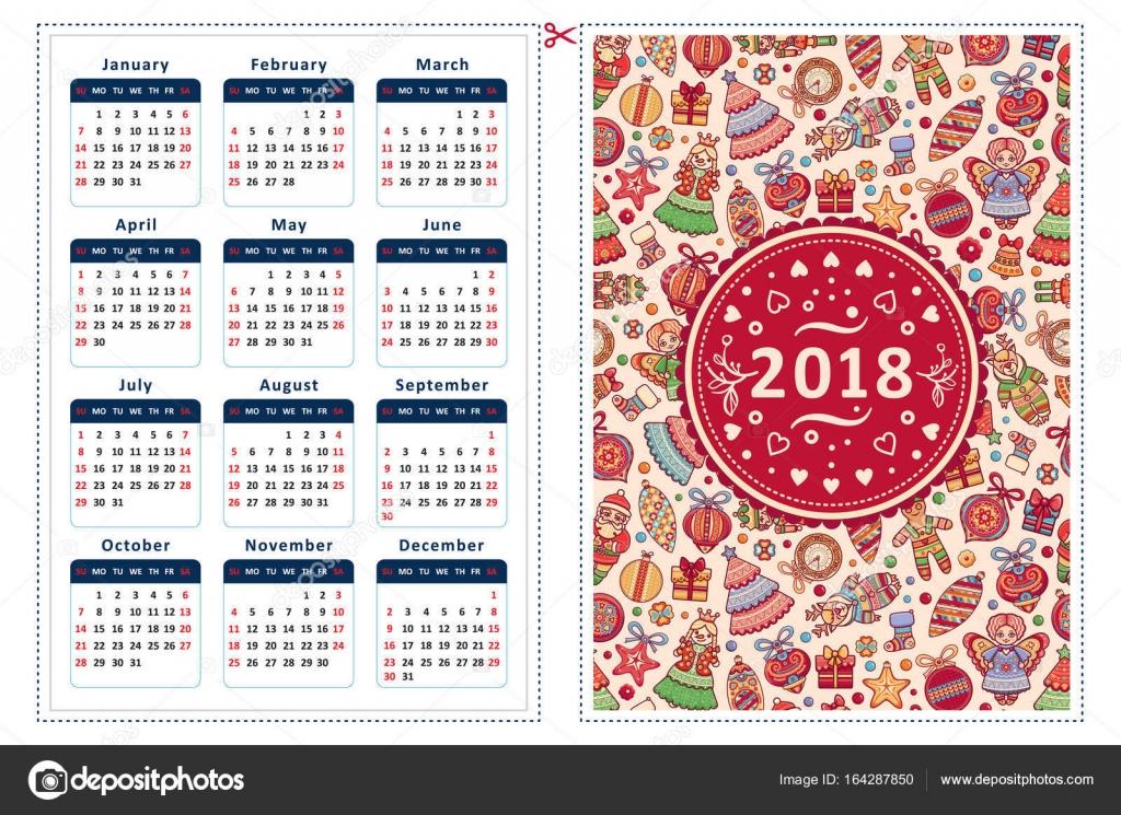 2018. Kalender Vorlage — Stockvektor © ZzN #164287850