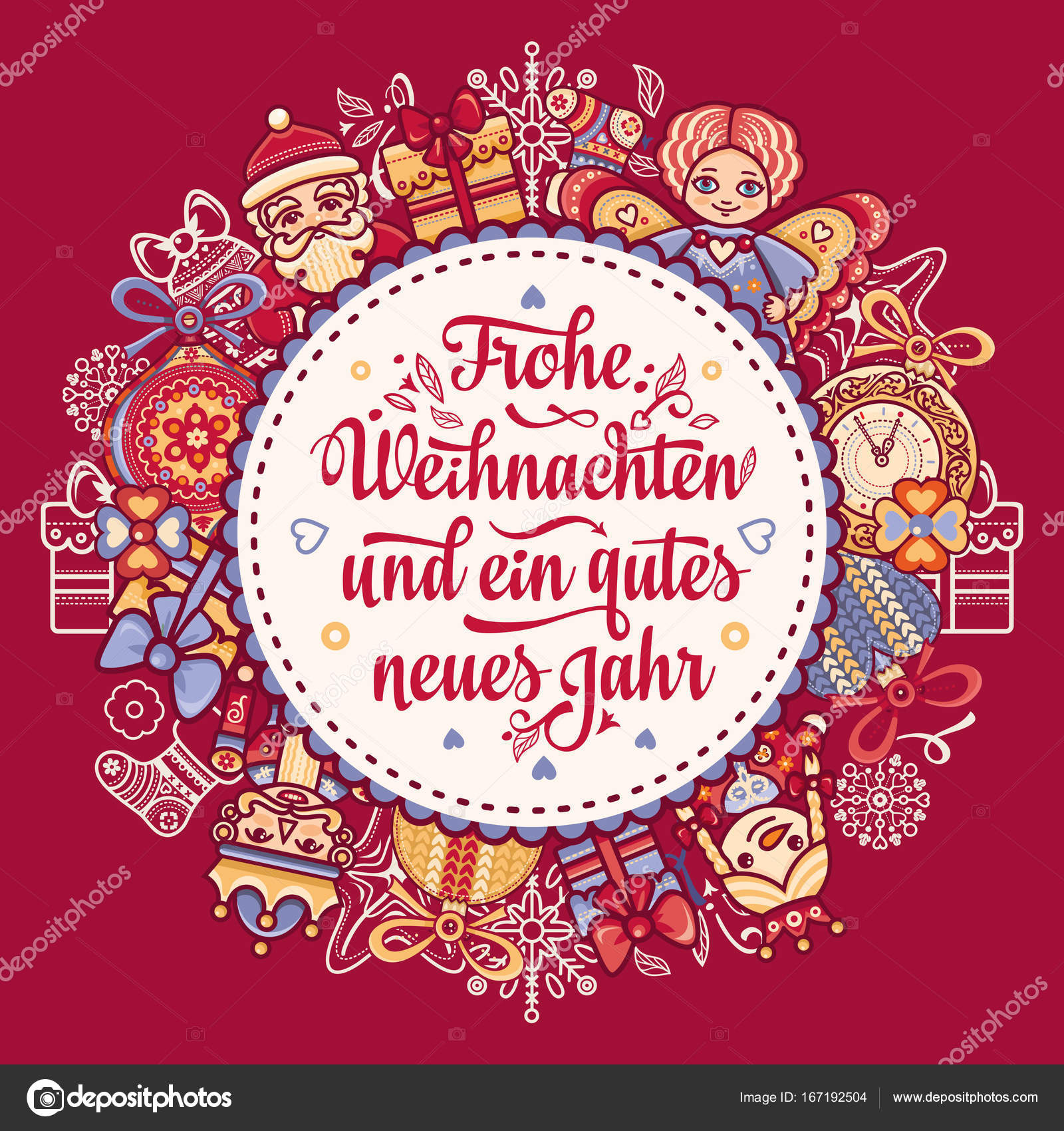 Frohe Weihnacht Xmas Congratulations In Germany Stock Vector
