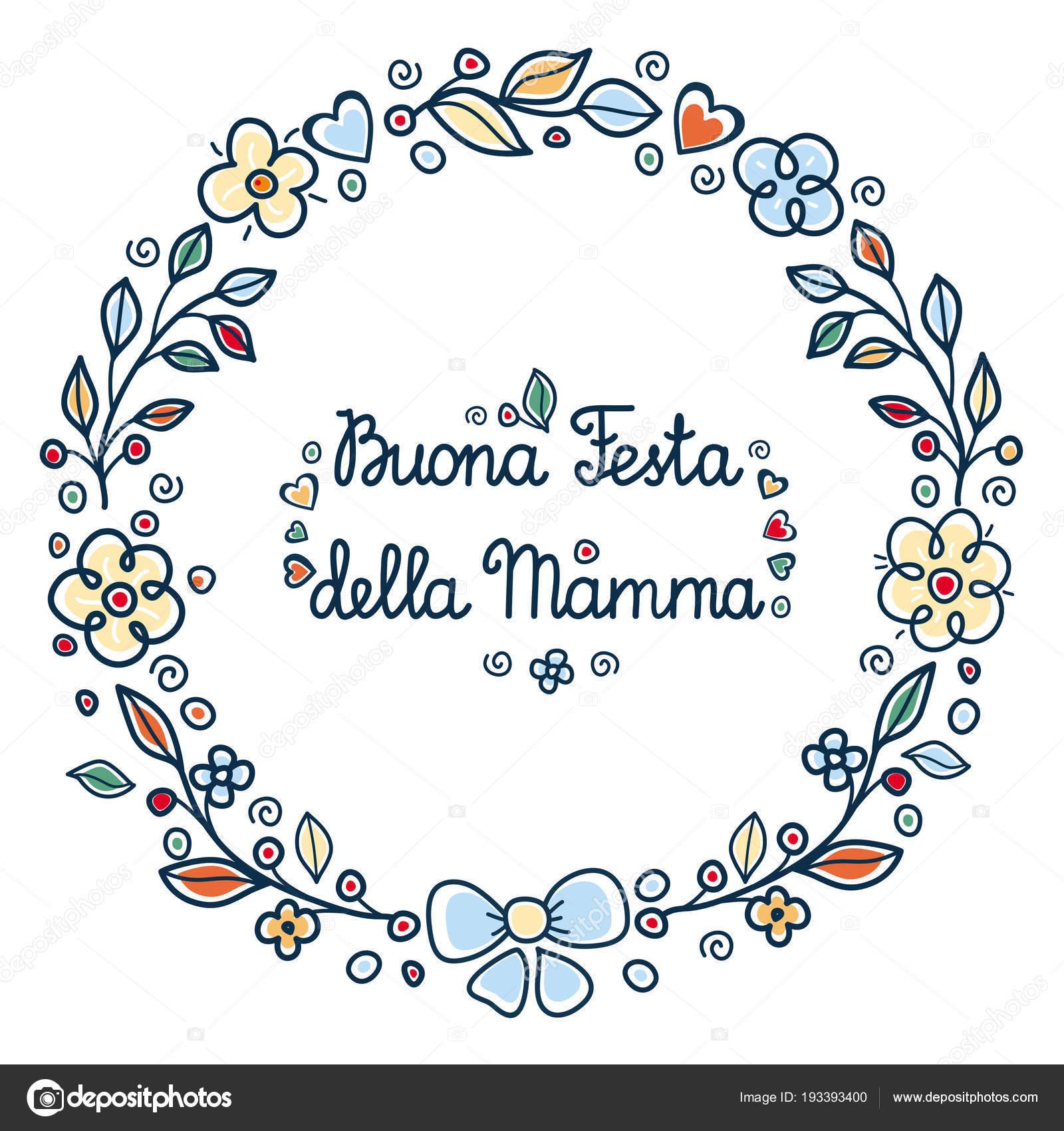 Carte Bonne Fete En Italien.Heureuse Fete Des Meres Cadre De Fleur Rond Italien Image