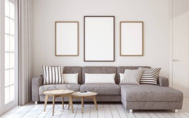 Living-room interior. 3d render.