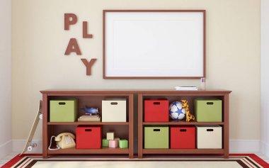 Interior of playroom. 3d render.