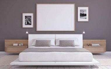 "Картина, постер, плакат, фотообои ""Интерьер спальни. 3D визуализация."", артикул 136853184"