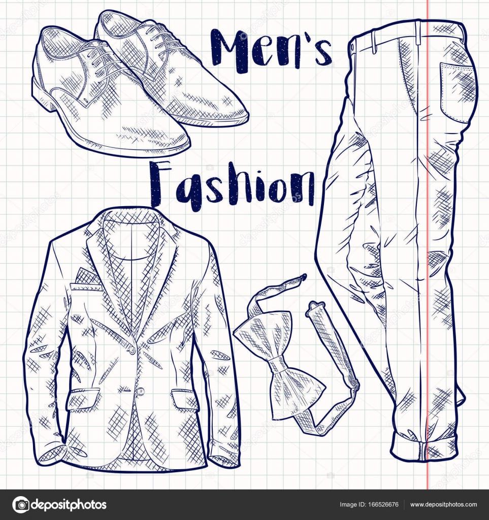 ベクトル スケッチ スタイル メンズ ファッション アクセサリー イラスト