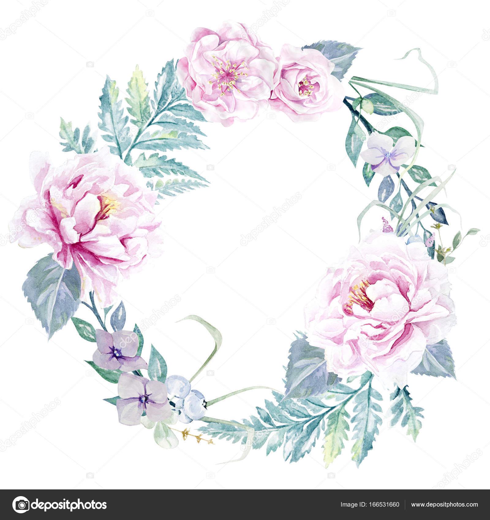 Aquarell Blumenrahmen Vorlage — Stockfoto © maryswell #166531660
