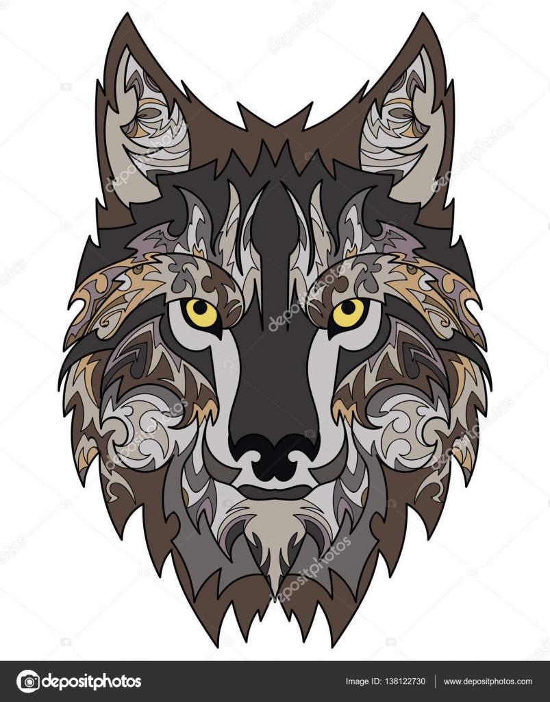 Tatuaje De Lobo Hermoso Cabeza De Lobo Del Vector Como Un Elemento
