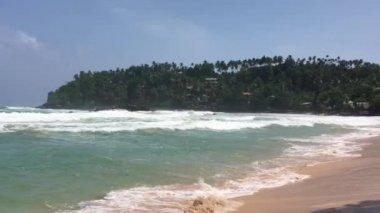 Amazing Mirissa beach in Si Lanka. Ocean in slow-motion