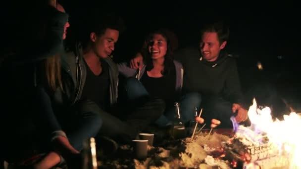 Yan görünümü farklı grup birlikte gece geç saatlerde ateşin yanında oturan ve birbirini kucaklayan insan sosis pişirme ve bira içmek. Söz ve birlikte eğlenmek neşeli arkadaşları