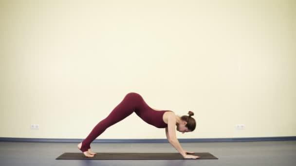 junge attraktive Frau in einteiliger Sportkleidung beim Dog Yoga Asana, um ihren Körper fit und flexibel zu halten.