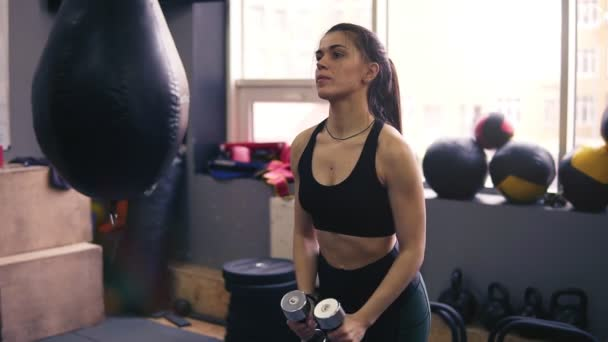 Footage of an athletic female brunette working out with dumbbells. Healthy lifestyle, fitness, wellbeing.