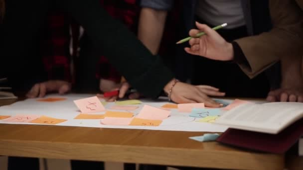 Close up footage of students, marketing research team brainstorming working on startup plan using multi coloured stickers. Four people working on a plan, discussing in a cheerful atmosphere, smiling