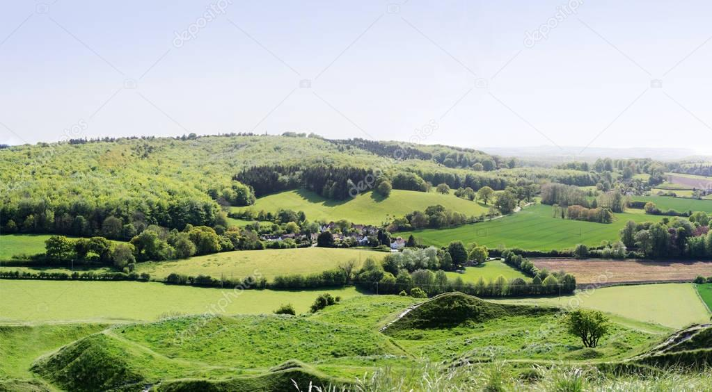 Panoramic view from Cley Hill to the fields and farms, Wiltshire, England.