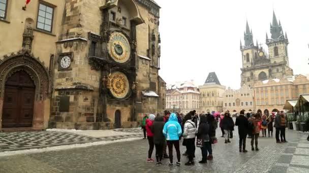 Původní orloj v centrum Prahy náměstí časová prodleva