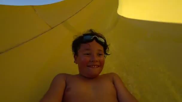 Happy boy sliding Slow motion
