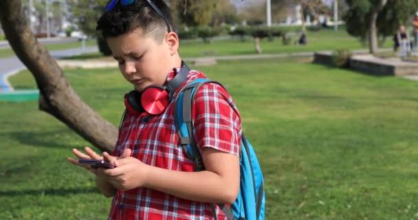 Portrét šťastné nedospělý chlapec stojící na zelené jaro park, mluví na smartphone technologií, internetová komunikace a lidé koncepce, Smartphone závislost
