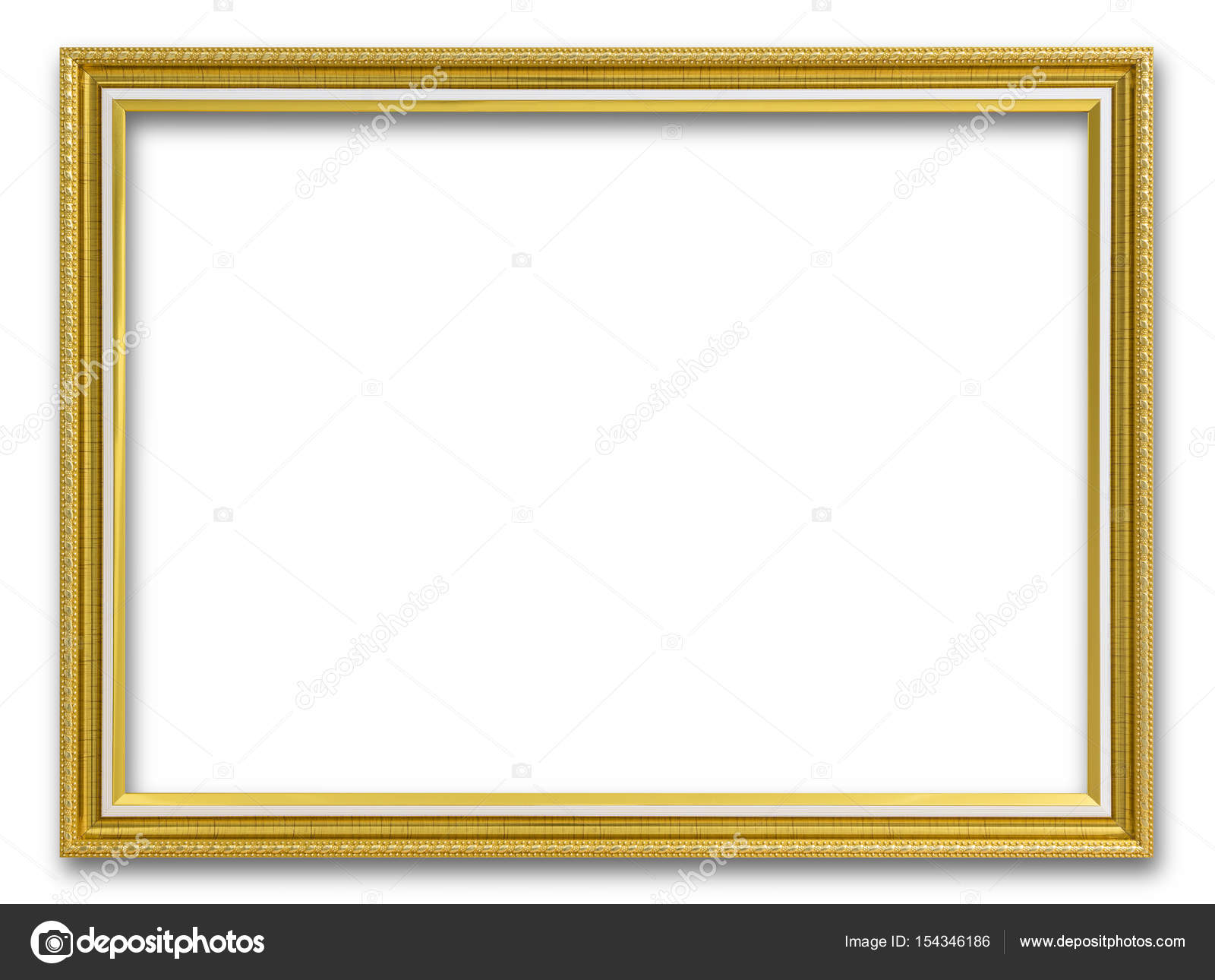 Marco de oro para la pintura o imagen en fondo blanco — Foto de ...