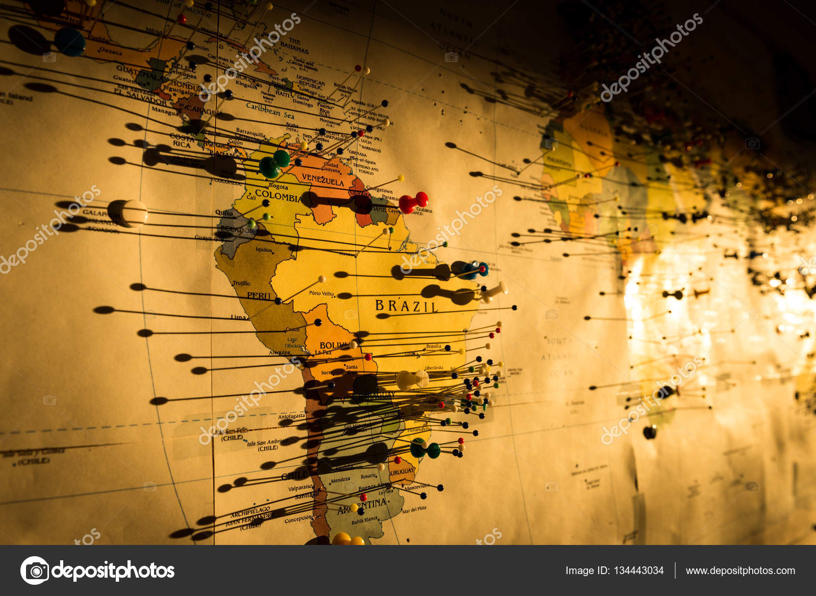 pins on the map of the world stock photo stockwithme 134443034