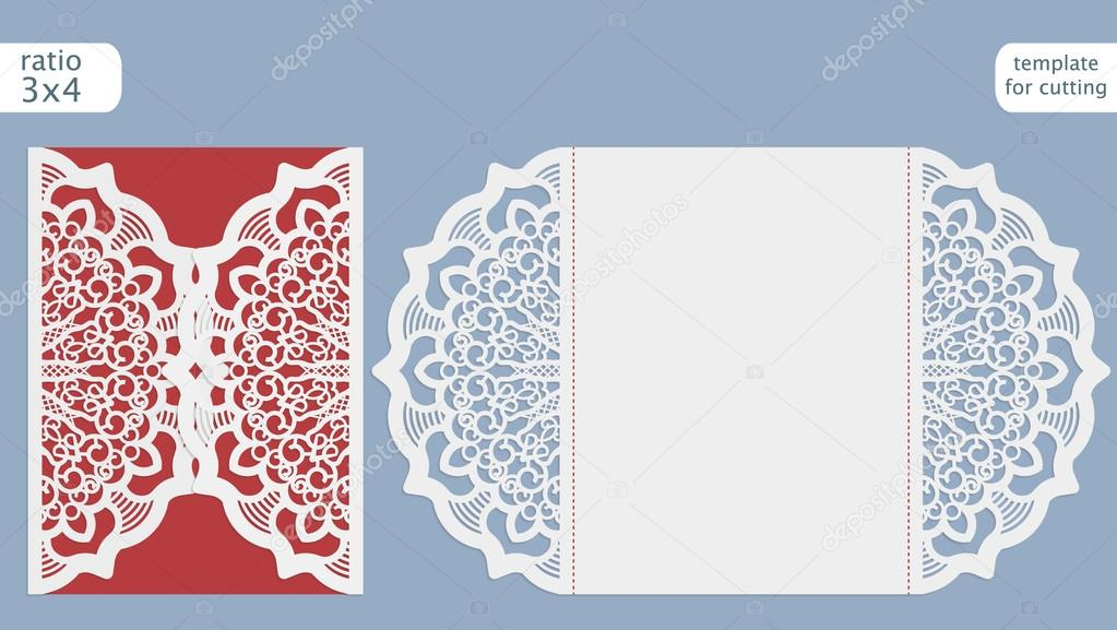 Laser Cut Wedding Invitation Card Template Out The Paper With Lace Pattern Greeting For Cutting Plotter Vector