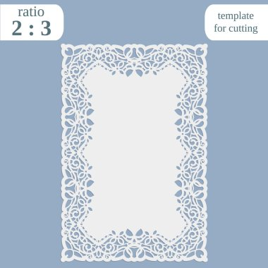 Greeting card with openwork border,  rectangular paper doily, template for cutting, wedding invitation, decorative plate is laser cut, frame with lace edge,
