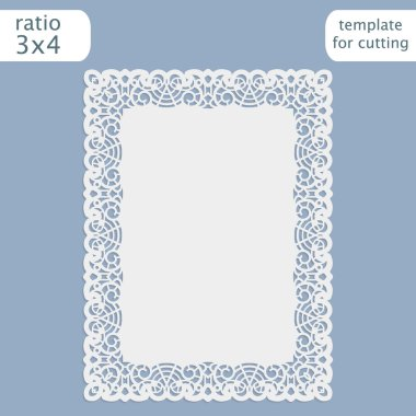 Laser cut wedding invitation card template with openwork border.  Cut out the paper card with lace pattern.  Greeting card template for cutting plotter.