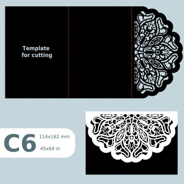 C6 paper openwork greeting card,  wedding invitation, template for cutting, lace invitation, card with fold lines, object isolated background, laser cut template,