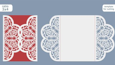 Laser cut wedding invitation card template.  Cut out the paper card with lace pattern.  Greeting card template for cutting plotter.