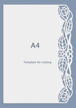 A4 paper lace greeting card, wedding invitation, white pattern, cut-out template,  template congratulation, perforation pattern, laser cutting template,