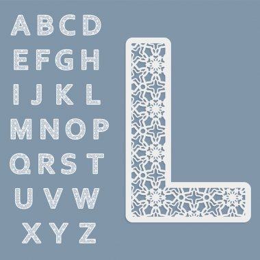 Templates for cutting out letters. Full English alphabet.  May be used for laser cutting. Fancy lace letters.