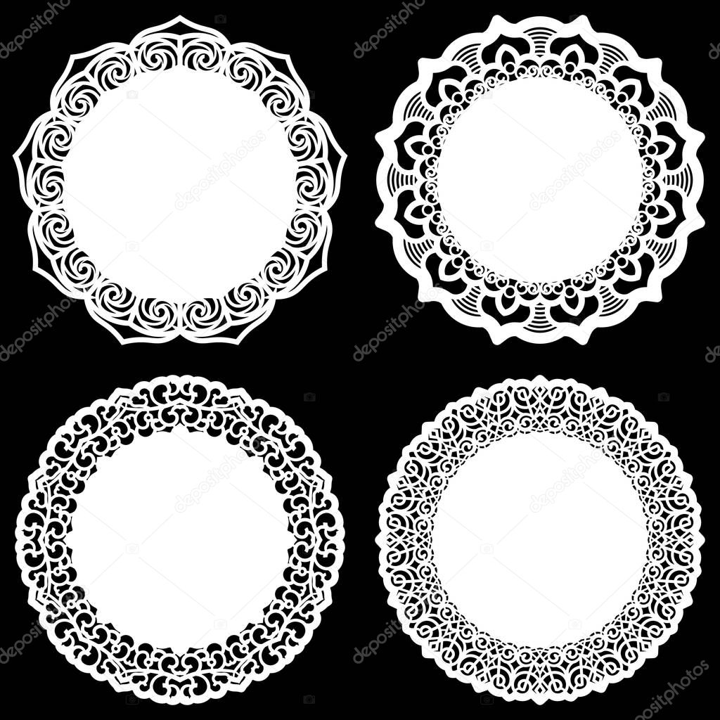 Set of design elements lace round paper doily doily to decorate the cake template for cutting snowflake greeting element metal plate cut by laser ...  sc 1 st  Depositphotos & Set of design elements lace round paper doily doily to decorate ...