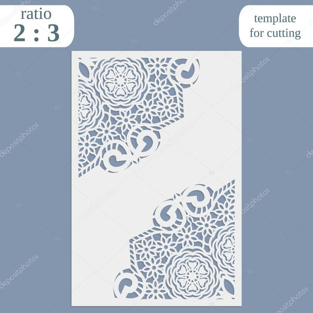 Laser cut wedding card template, paper openwork greeting card ...