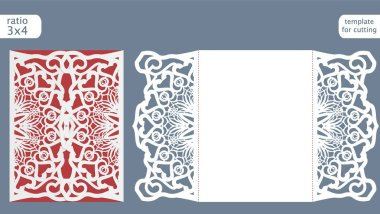 Laser cut wedding invitation card template vector. Die cut paper card with abstract pattern. Cutout paper gate fold card for laser cutting or die cutting template