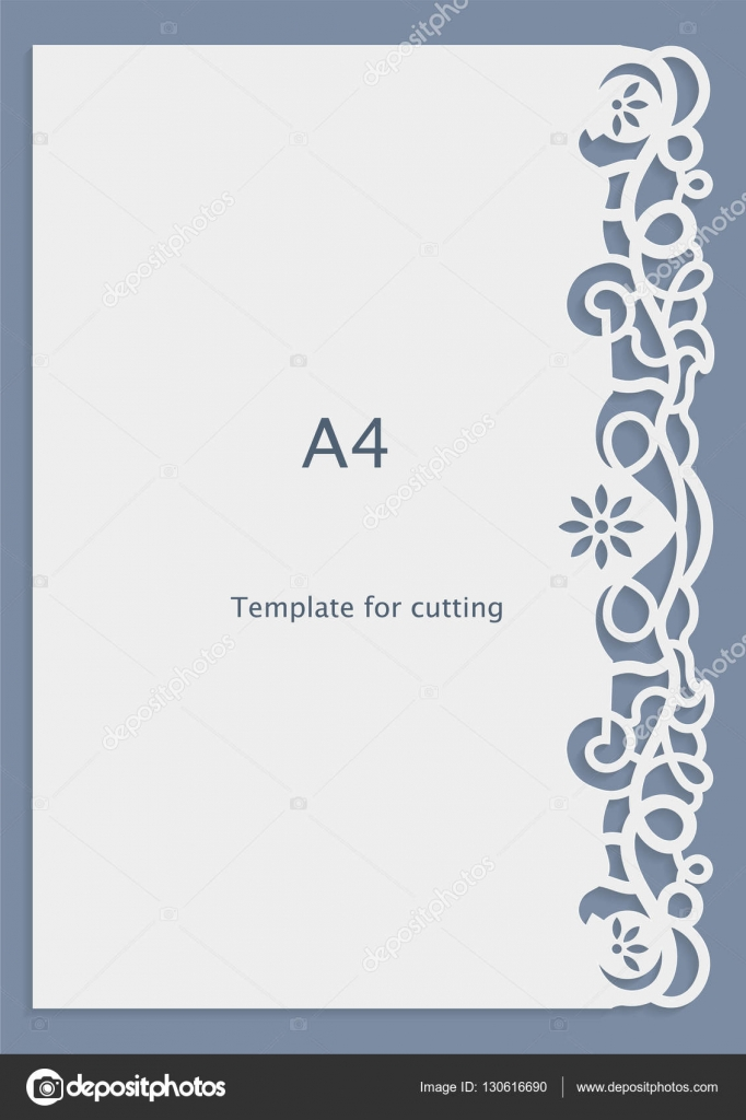 A4 Paper Lace Greeting Card Wedding Invitation Cut Out Template