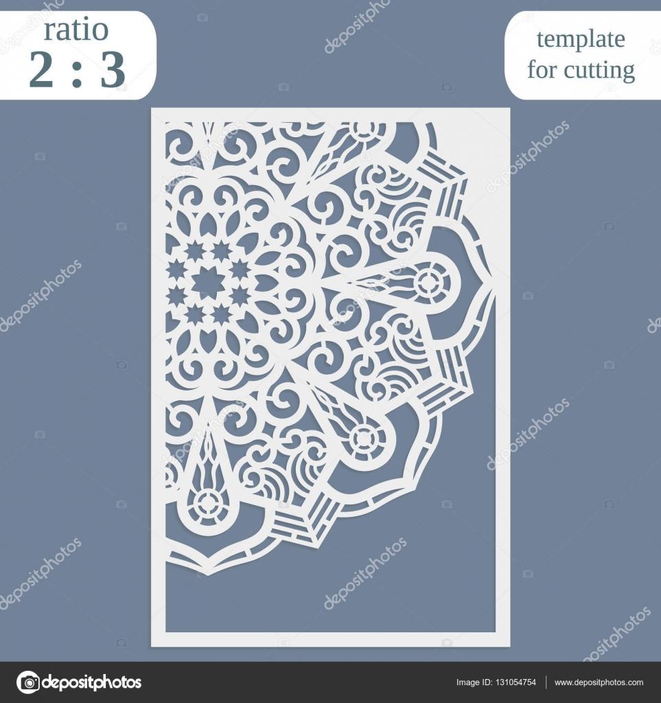 Laser cut wedding card template, paper openwork greeting card ...
