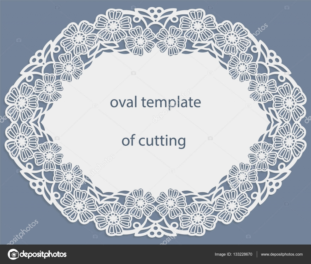 Greeting card with openwork oval border, paper doily under the cake ...