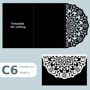C6 paper openwork greeting card,  wedding invitation, template for cutting, lace invitation, card with fold lines, object isolated background, laser cut template