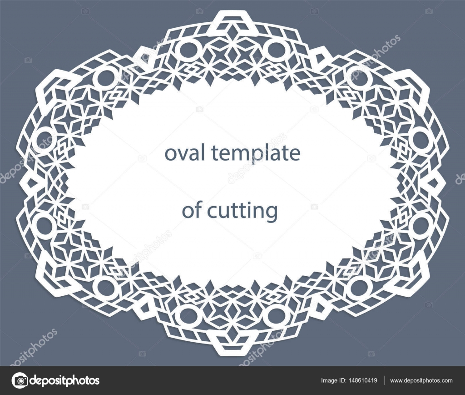 Grußkarte mit durchbrochenen ovalem Rahmen, Papier Deckchen unter ...