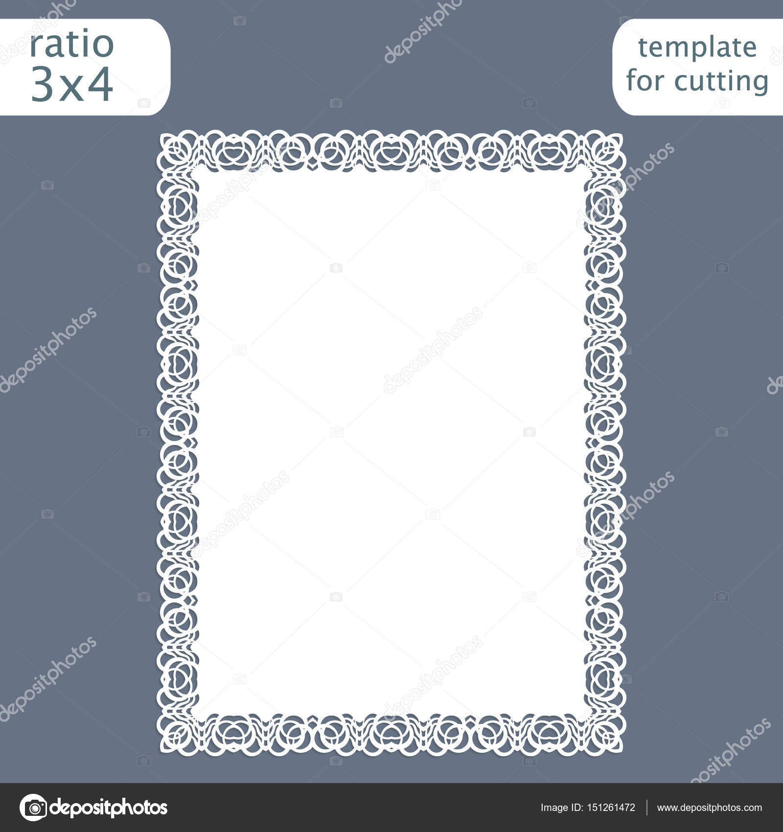 Laser Cut Wedding Invitation Card Template With Openwork