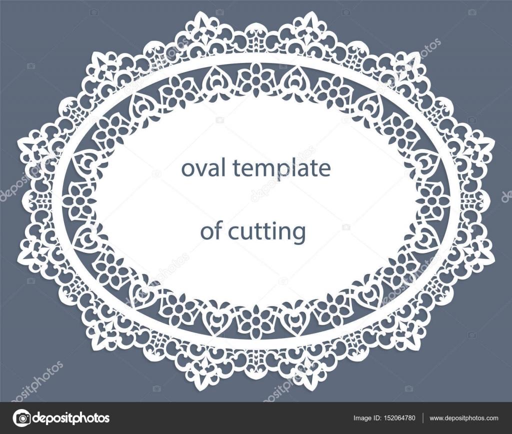 Grußkarte mit dekorativen ovalem Rahmen, Deckchen Papier unter den ...