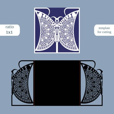Laser cut wedding square card template. Cut out the paper card with butterfly pattern. Greeting card template for cutting plotter. Metal plate cut by laser.