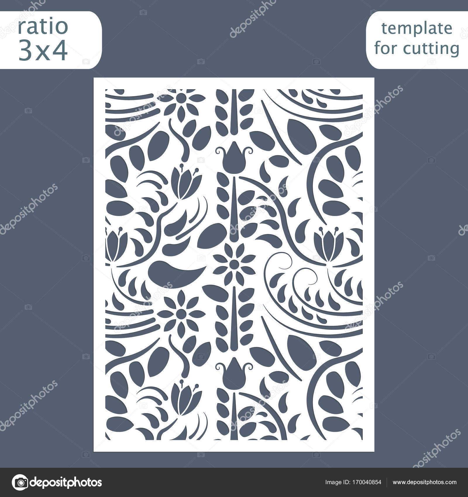 Laser cut wedding invitation card template. Cut out the paper card ...