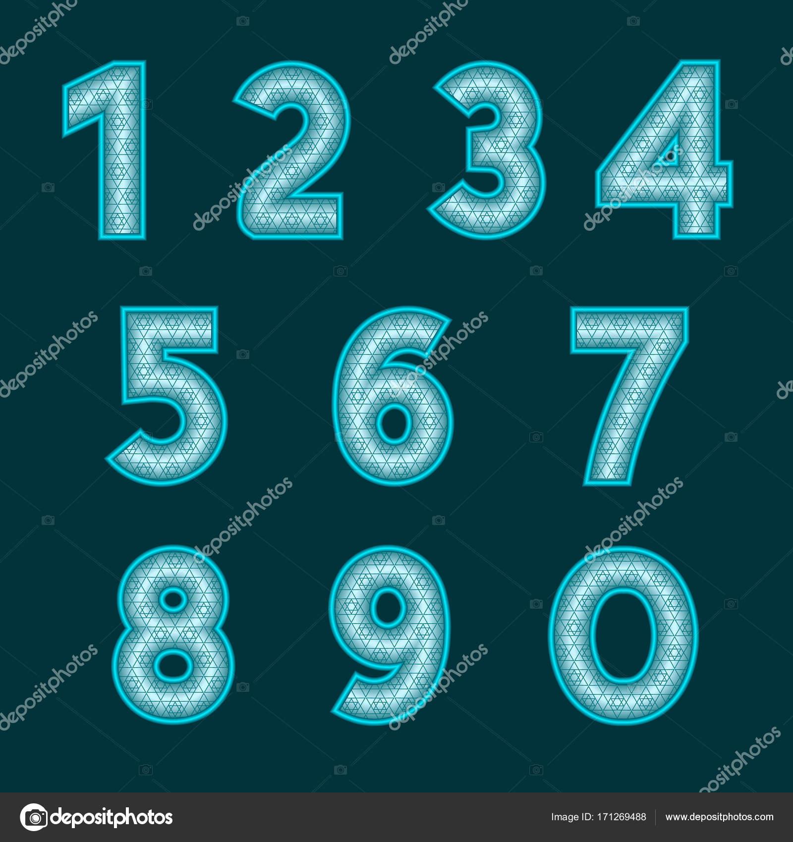 Ein kompletter Satz von Cyan Zahlen mit einer Reliefoberfläche ...