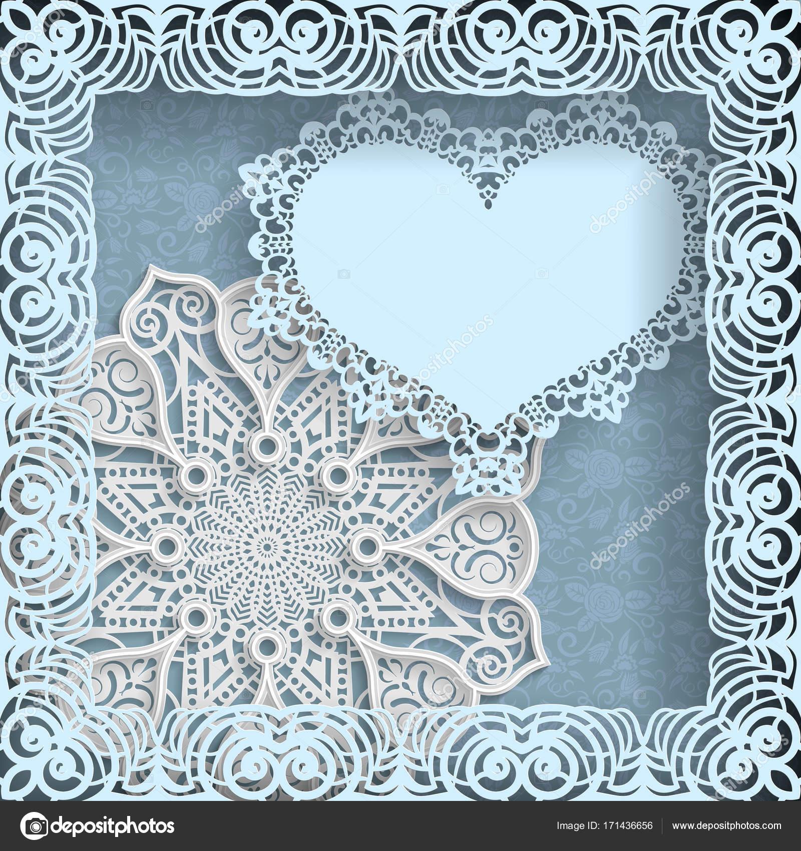 template of wedding greetings or invitations 3d mandala paper