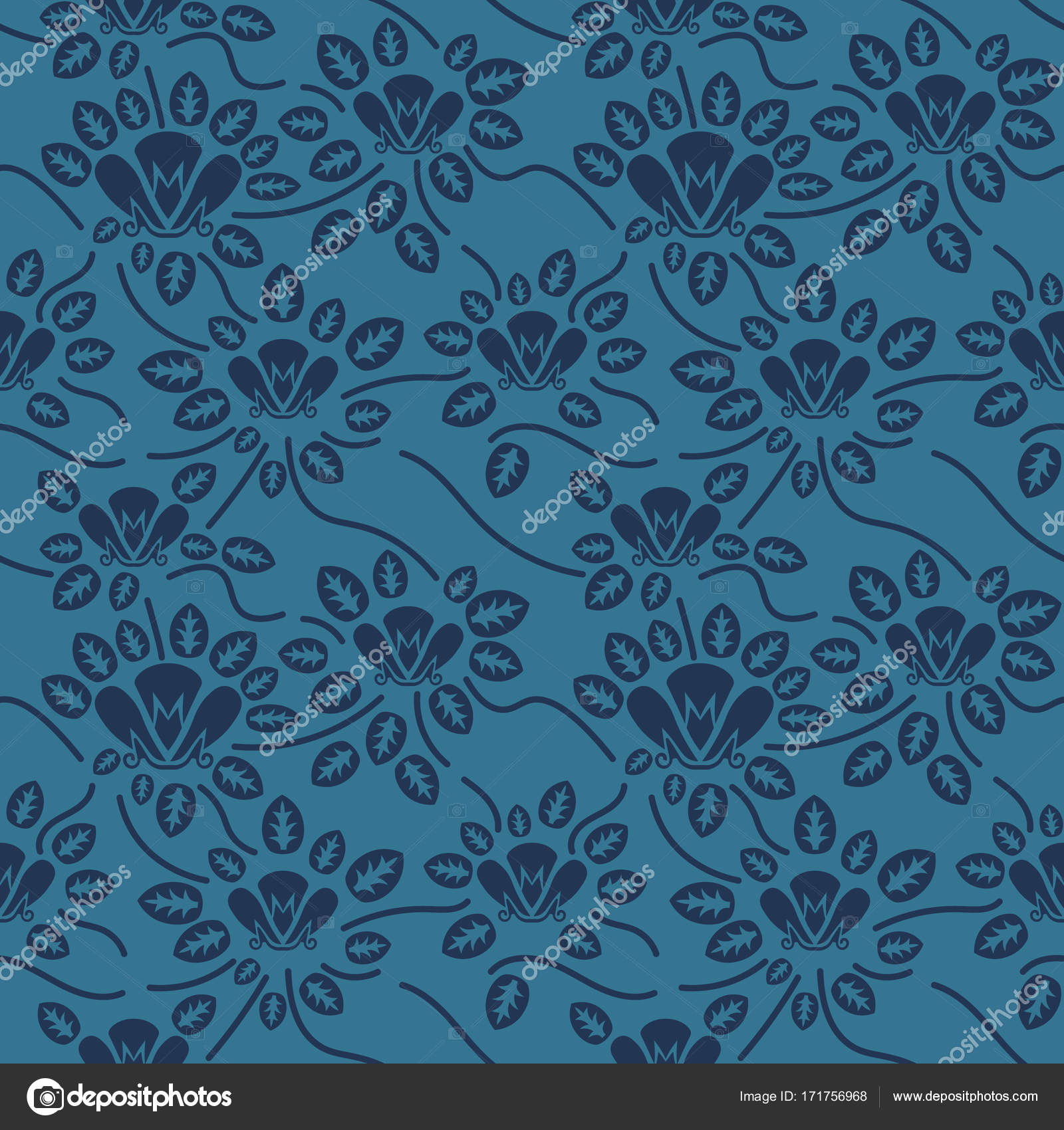 Seamless Blue Floral Pattern Vector Endless Texture Can Be