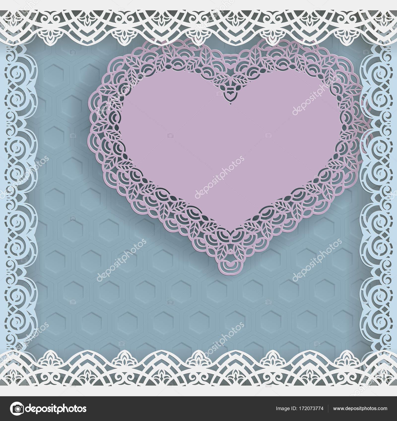 Plantilla de boda saludos o invitaciones. Corazón de papel con un ...