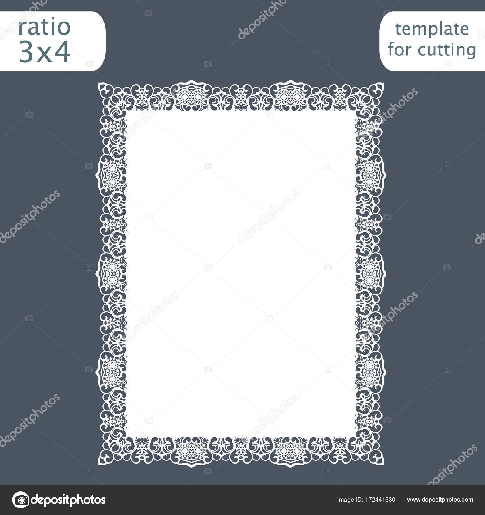 Lasergeschnittenes Hochzeit Einladung Kartenvorlage Mit Durchbrochenen  Rand. Schneiden Sie Das Papier Karte Mit Lochmuster